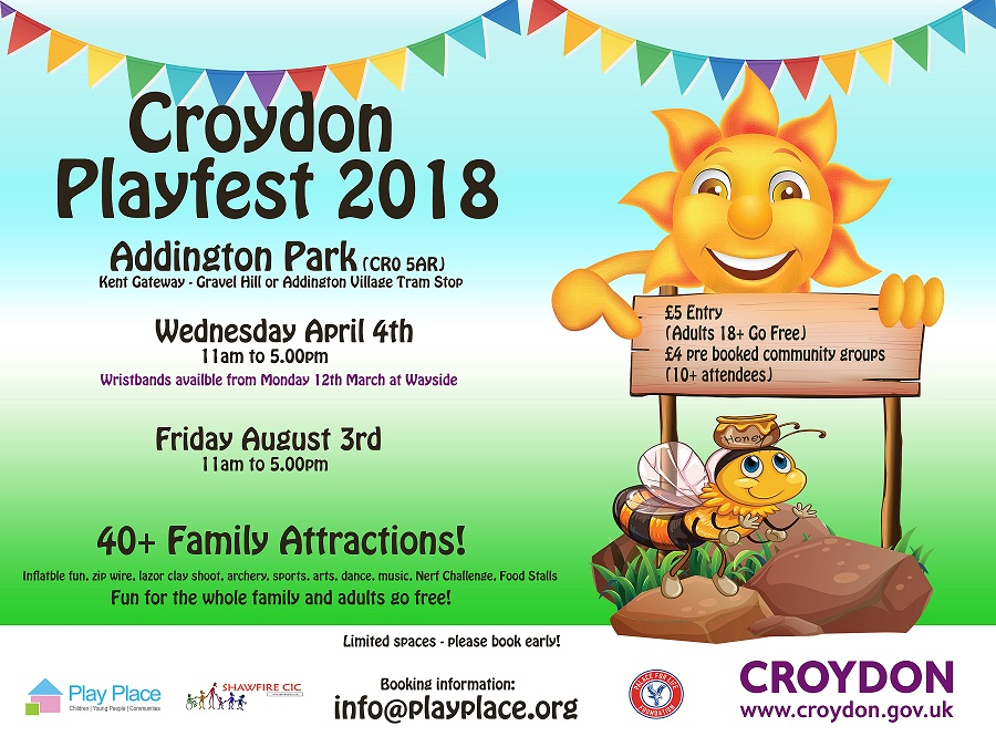 A poster for Croydon Playfest 2018. happening in the Big Local Broad Green area.