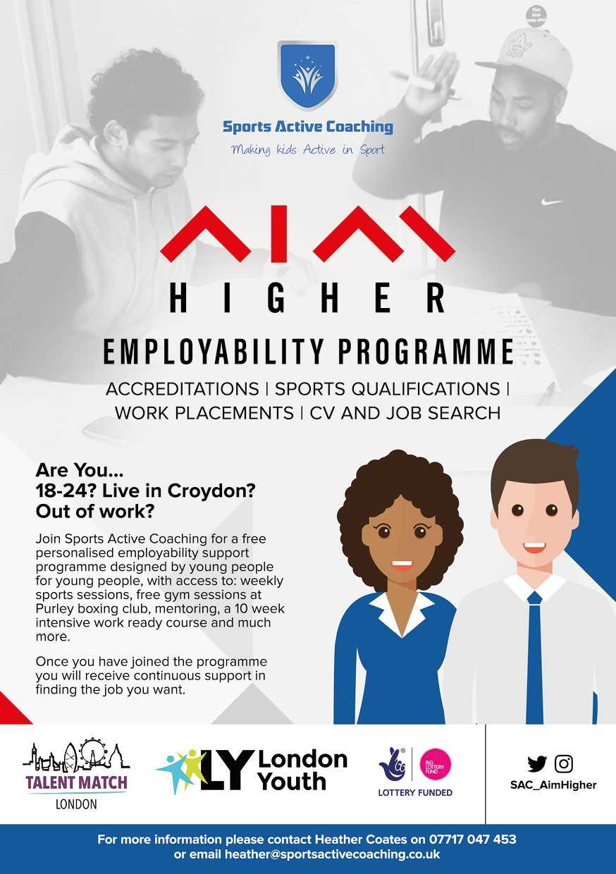 A poster for the Higher Employability Programme in the Big Local Broad Green area